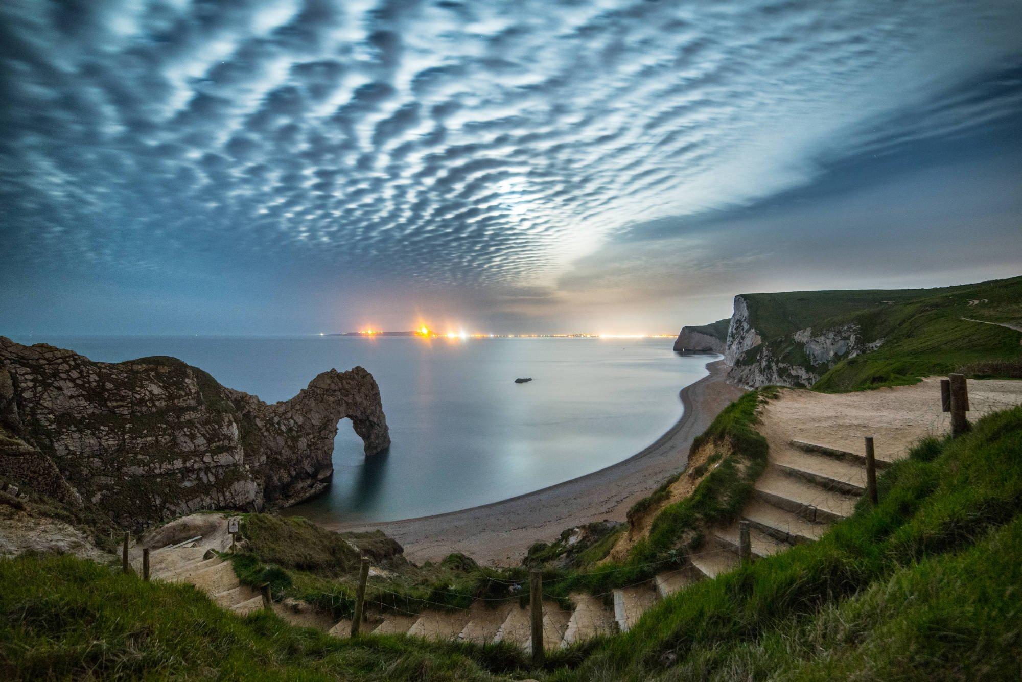 Durdle Door Limestone Dorset England Coastline Cloud Sea