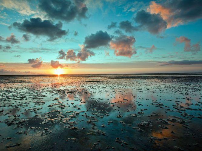 Frisian Island beach ocean sea reflection sunset sunrise sky clouds wallpaper