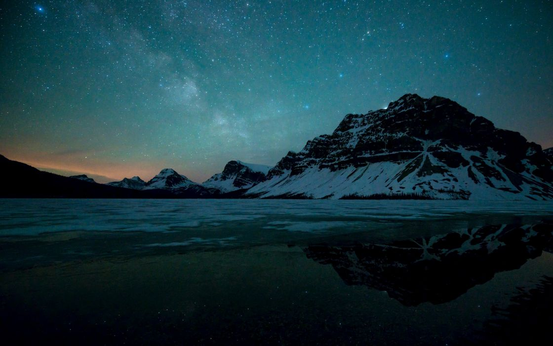 Reflection Nature Water Landscape Mountain Winter Stars Sky Night wallpaper