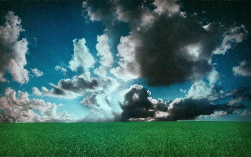 spring rain storm drops landscape nature sky clouds mood wallpaper