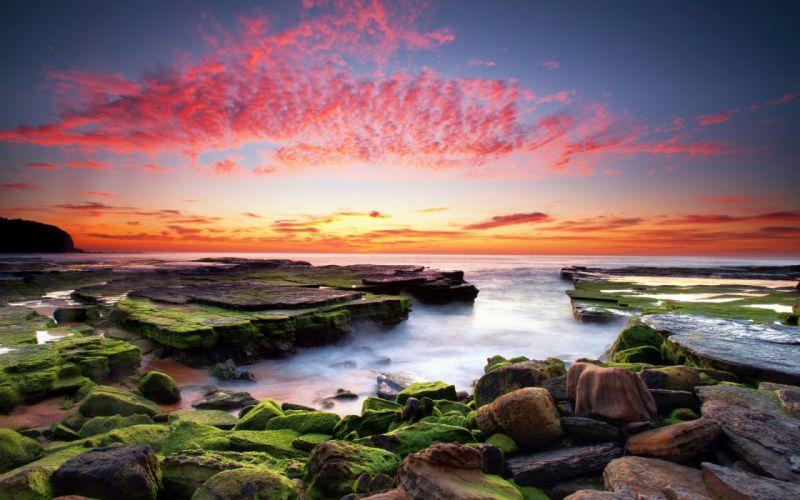 Sunset Moss Seascape Rock Ocean Nature wallpaper