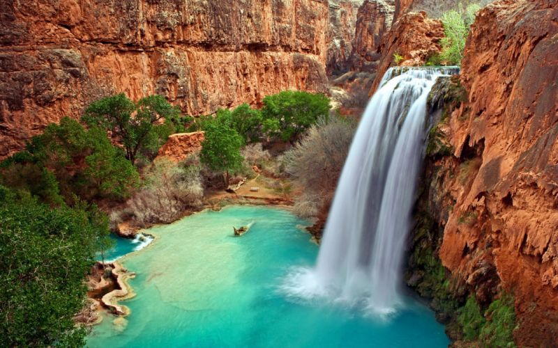 Water Cliff Waterfall Nature wallpaper