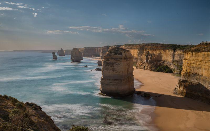 Great Ocean Road Limestone Stacks Shadow Sand Wave Coastline Sea Australia Victoria 12 Apostles The Twelve Apostles wallpaper