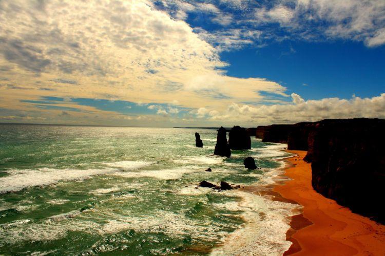 Great Ocean Road Coastline Sea Australia Victoria Limestone Stacks 12 Apostles The Twelve Apostles wallpaper