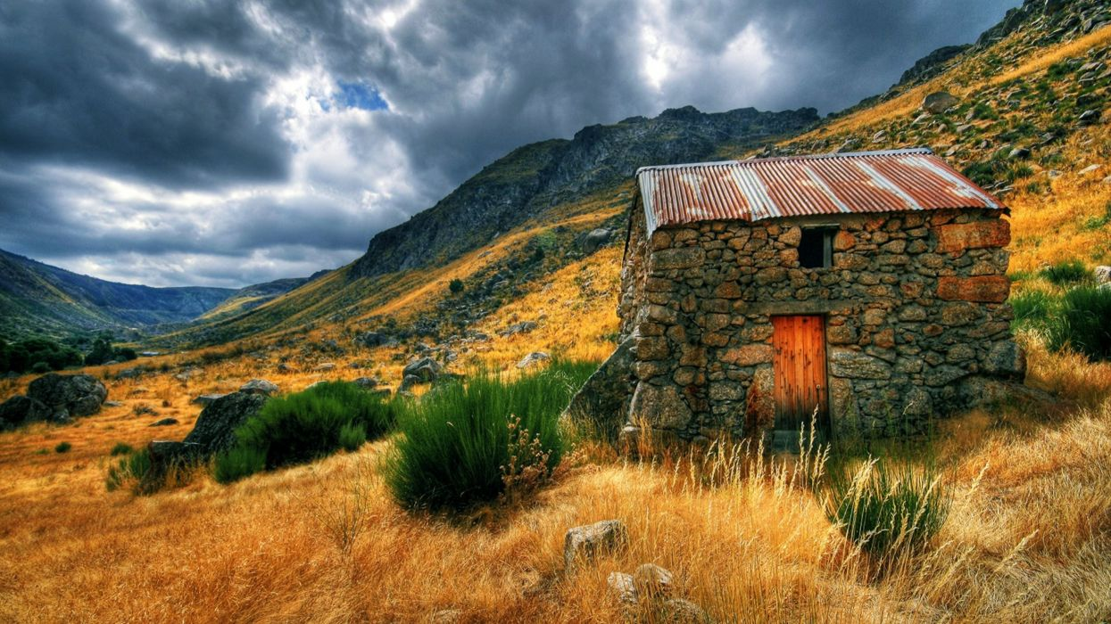 Nature House Countryside Hut Landscape rustic wallpaper