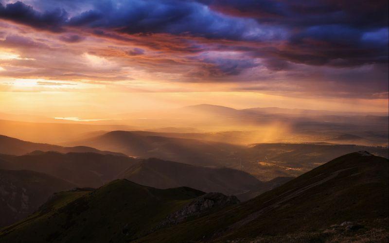 sunset sunrise landscape nature sky clouds wallpaper