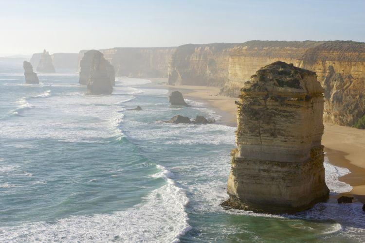 Surf Waves Coastline Ocean Sea Limestone Stacks Australia Victoria Great Ocean Road 12 Apostles The Twelve Apostles wallpaper