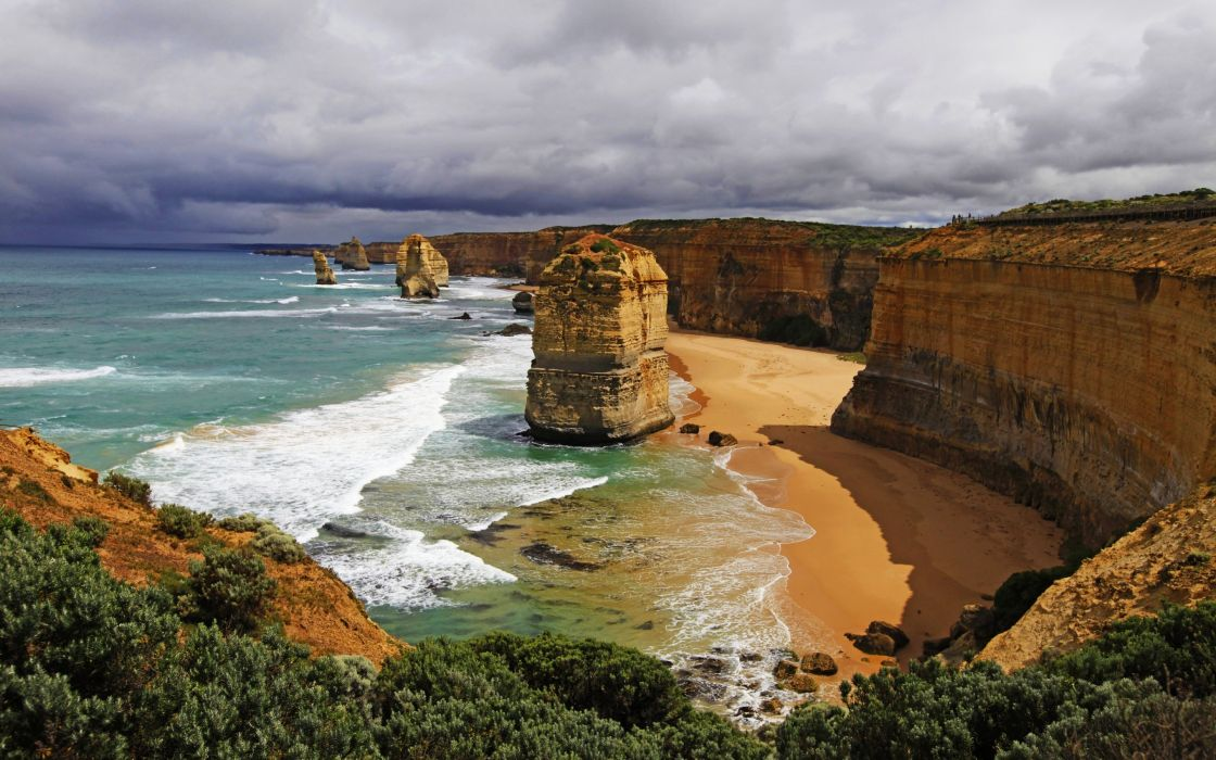 Clouds Australia Victoria Coastline Great Ocean Road Limestone Stacks 12 Apostles The Twelve Apostles wallpaper