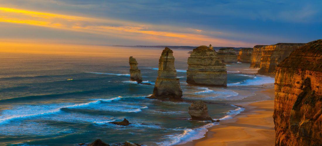 Sunset Coastline Ocean Sea Great Ocean Road Australia Victoria Limestone Stacks 12 Apostles The Twelve Apostles wallpaper