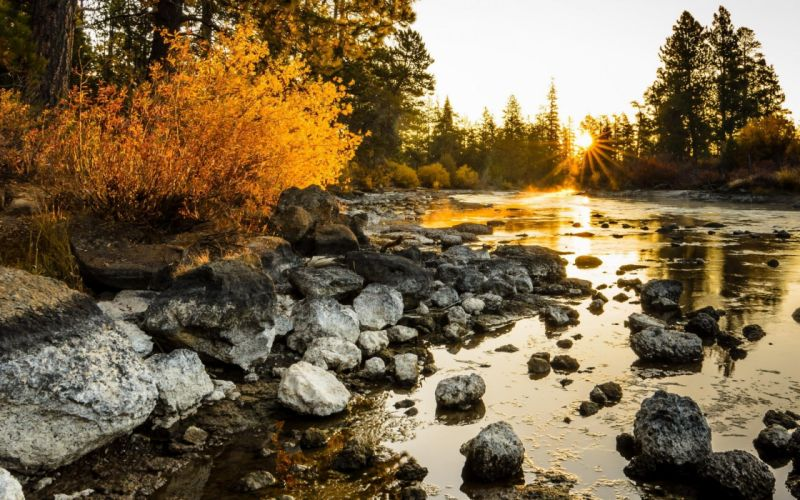 river autumn sunset sunrise wallpaper