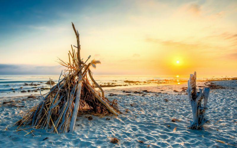 sunset sunrise beach ocean sea wallpaper