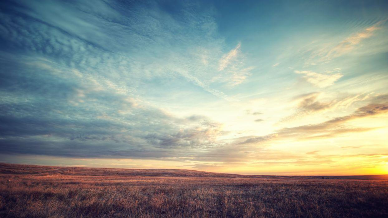 Sunset Landscape sky clouds wallpaper