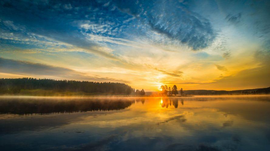 sunset sunrise lake fog mist sky clouds wallpaper