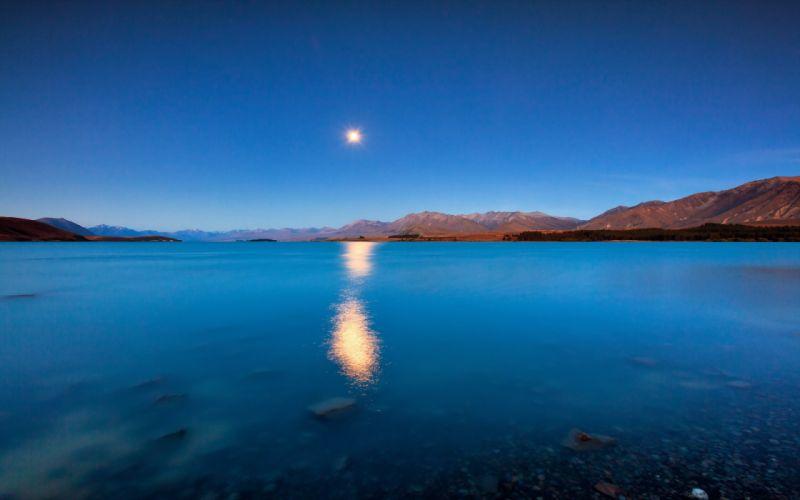 lake reflection moon sun sky mountains wallpaper