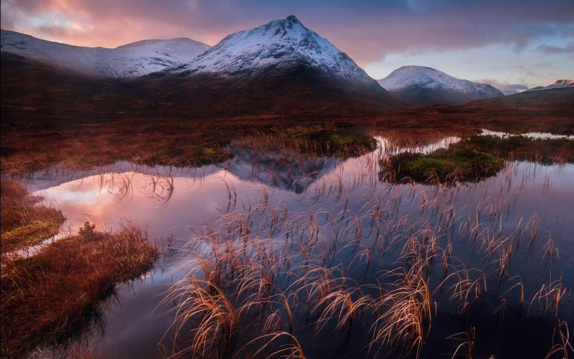 lake grass mountains sunset sunrise reflection wallpaper
