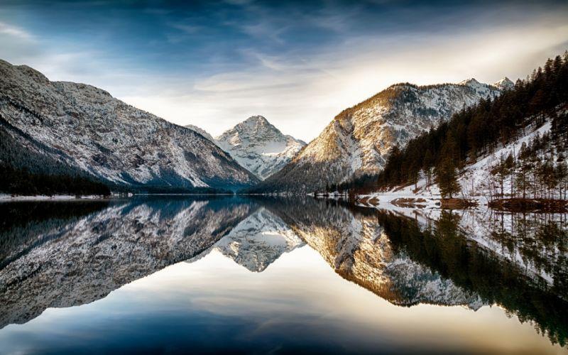 Reflection lake mountains winter snow wallpaper