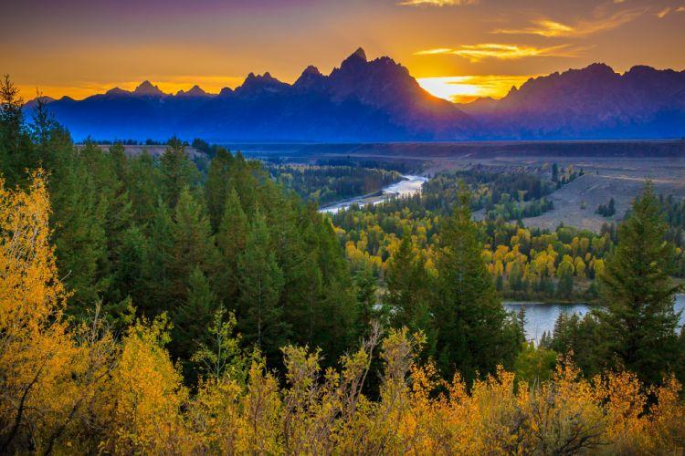 Autumn Forest Landscape Sunset Grand Teton National Park The Teton Range Snake River wallpaper