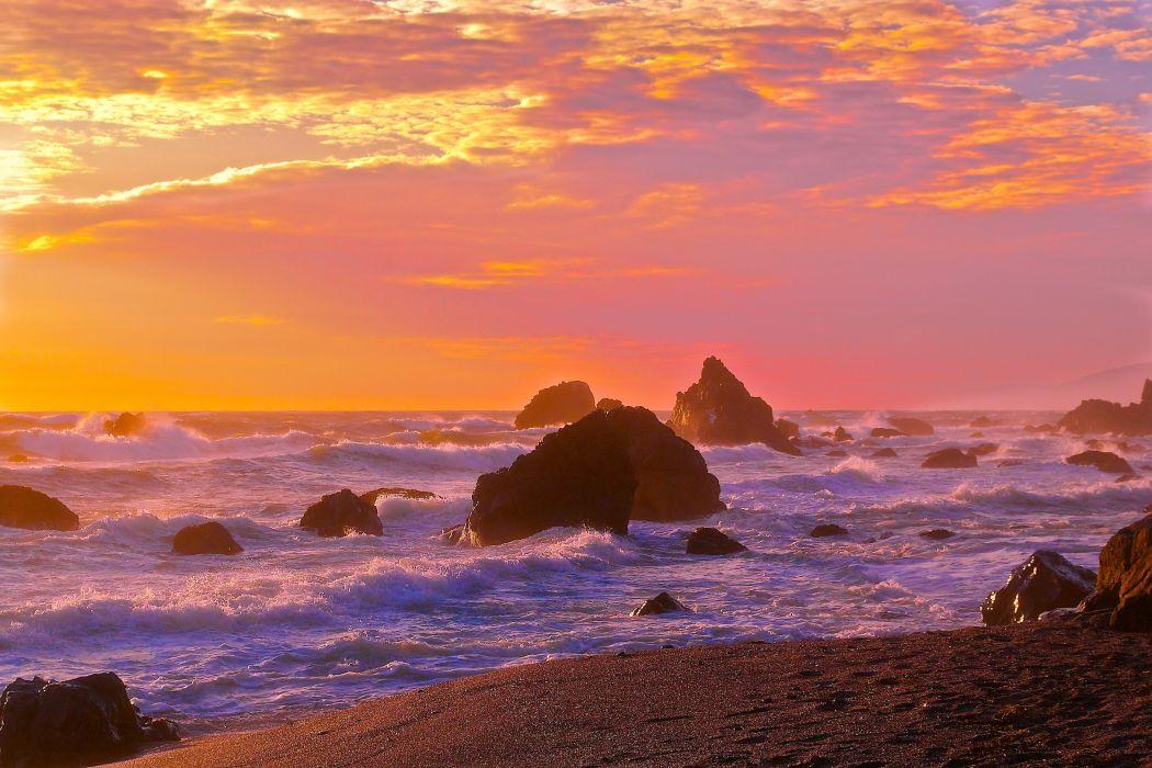 Cloud Surf Sunset Glow Rock Wave Sky Seascape Seashore Sea wallpaper