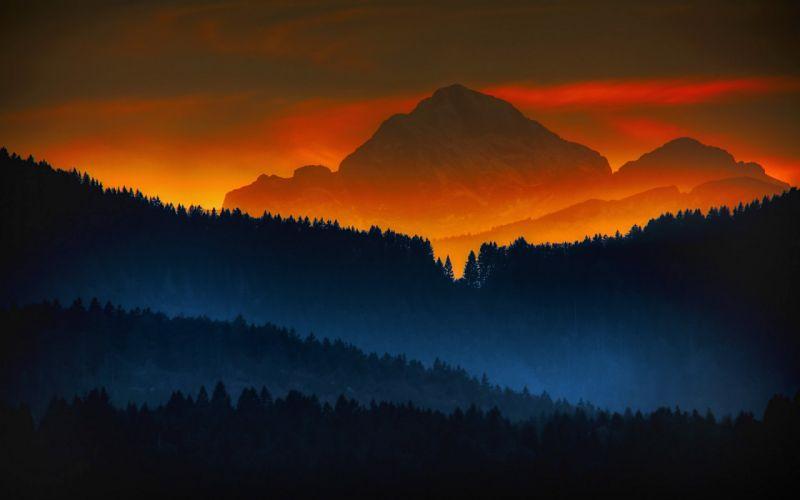forest sunset mountains color sunrise landscape nature wallpaper