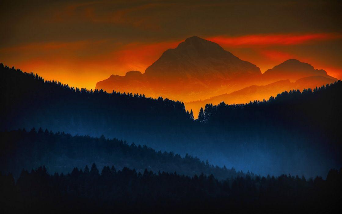 Sunrise Mountain Forest Wallpaper: Forest Sunset Mountains Color Sunrise Landscape Nature