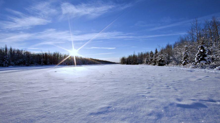 Landscape Nature Sunny White Winter Snow wallpaper