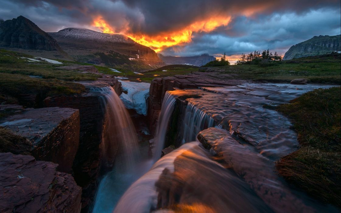 Glow Nature Sunrise Triple Falls Montana Glacier National Park Waterfall Storm clouds waterfall river wallpaper