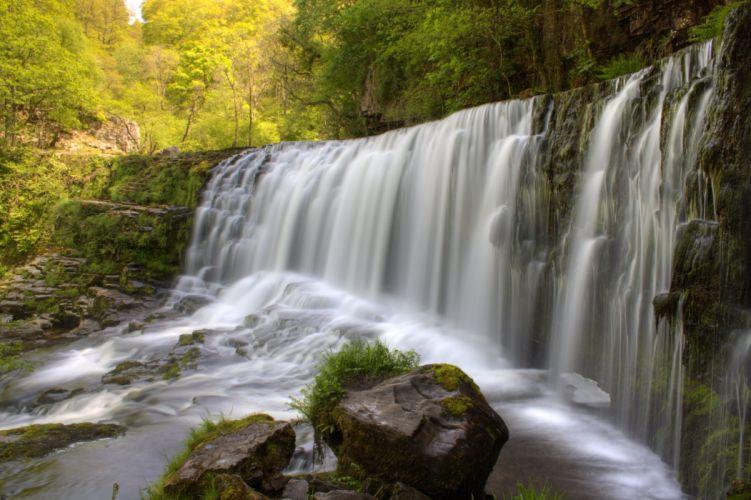 Landscape United Kingdom Wales South Wales Neath Ystradfellte Waterfall Country Waterfall Sgwd Isaf Clun-gwyn Waterfall wallpaper