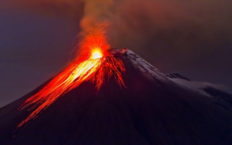 Stratovolcano Ash Cloud Eruption Volcano Ecuador Cordillera Oriental Tungurahua nature landscape mountain lava f wallpaper