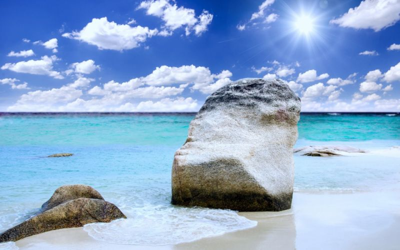 Rock Sand Landscape Summer Nature Ocean Sunny Sea Beach wallpaper