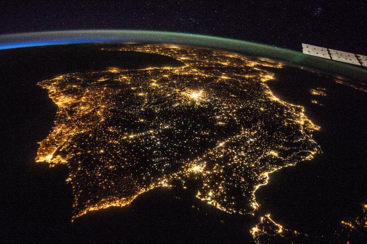 Spain Iberian Peninsula Night Nasa Strait Of Gibraltar Andorra Portugal space earth night lights wallpaper
