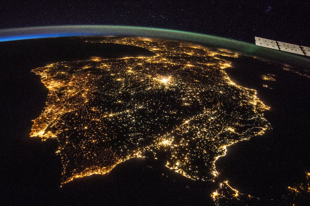 Spain Iberian Peninsula Night Nasa Strait Of Gibraltar