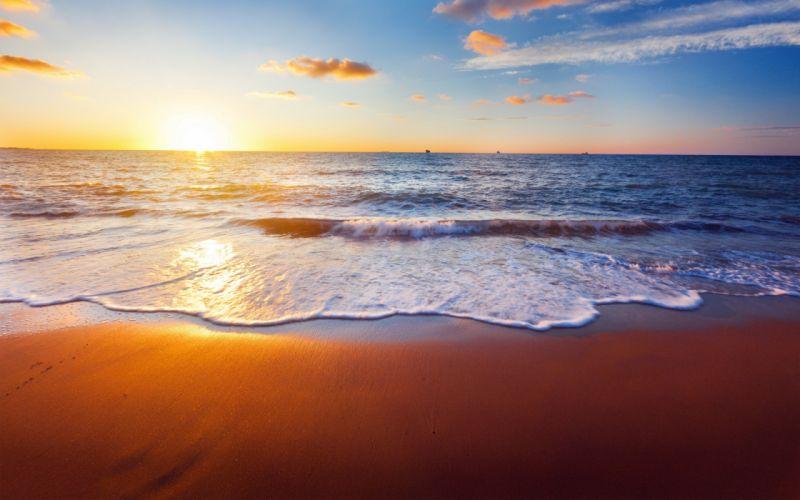 Beach sunset sunrise waves ocean sea wallpaper