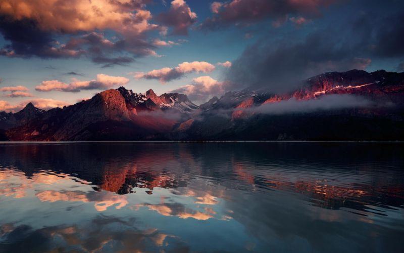 lake reflection mountains clouds snow wallpaper