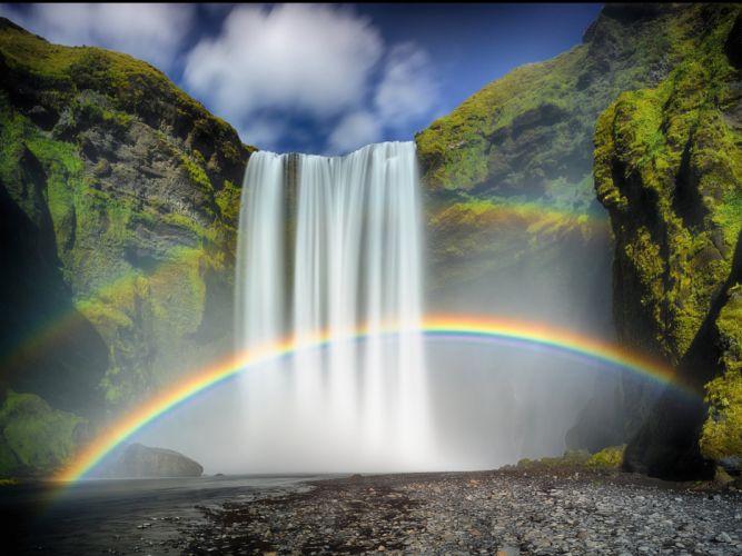 Rainbow Moss Rock Waterfall Skogafoss Waterfall wallpaper