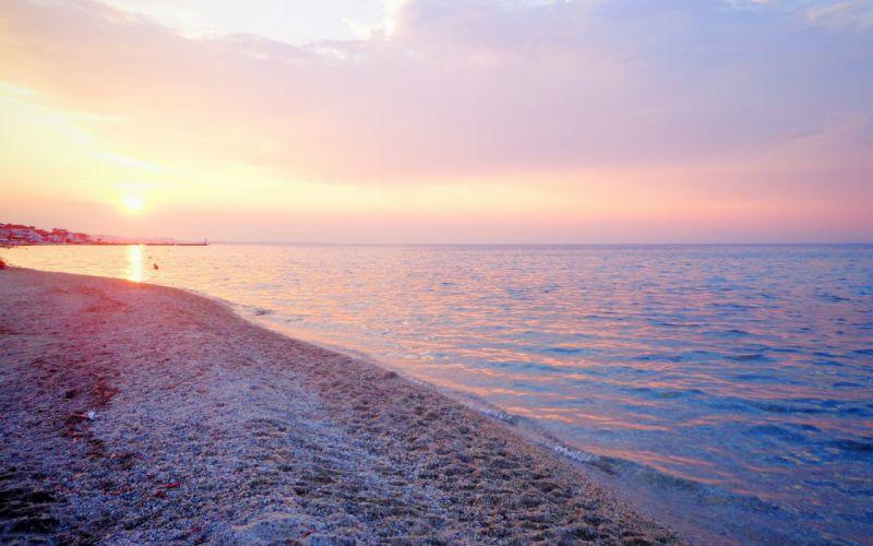 Sunrise sunset beach shore coast ocean sea lighthouse wallpaper