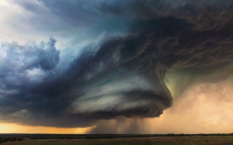 Tornado storm thunder sky clouds rain nature landscape wallpaper