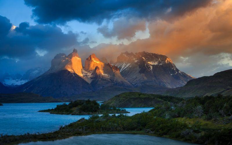 Torres Del Paine lake mountain snow landscape nature wallpaper