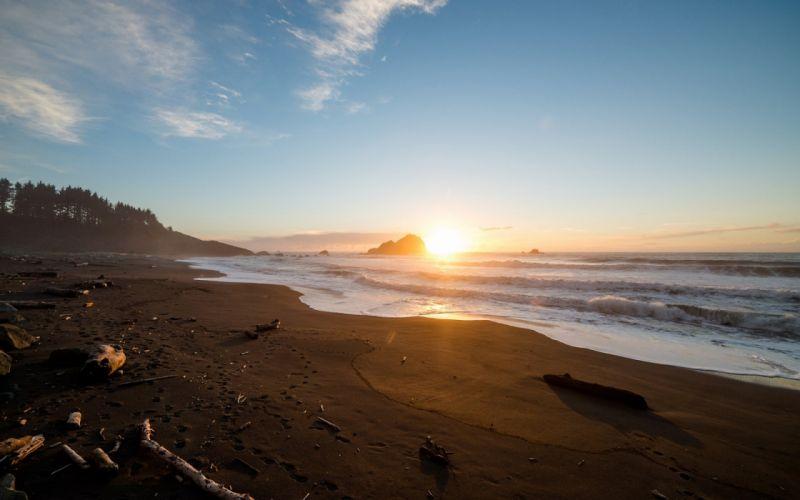 Beach ocean sea waves coast shore sunset sunrise wallpaper