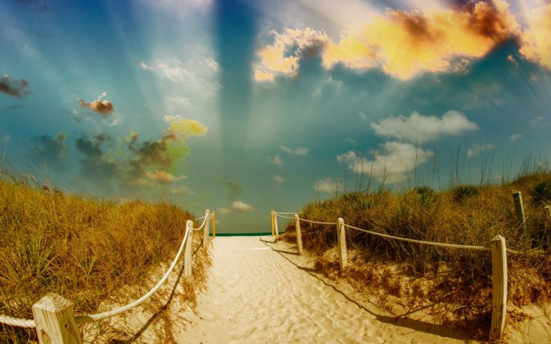 Beach path trail mood sea ocean sand fence sky clouds nature landscape summer wallpaper