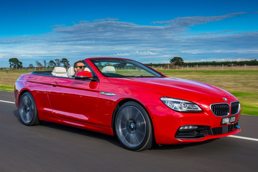 BMW 640i Cabrio convertible red AU-spec cars 2015 wallpaper