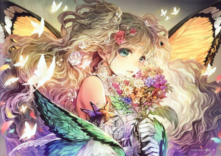 anime girl flower beautiful butterfly long hair cute wings wallpaper