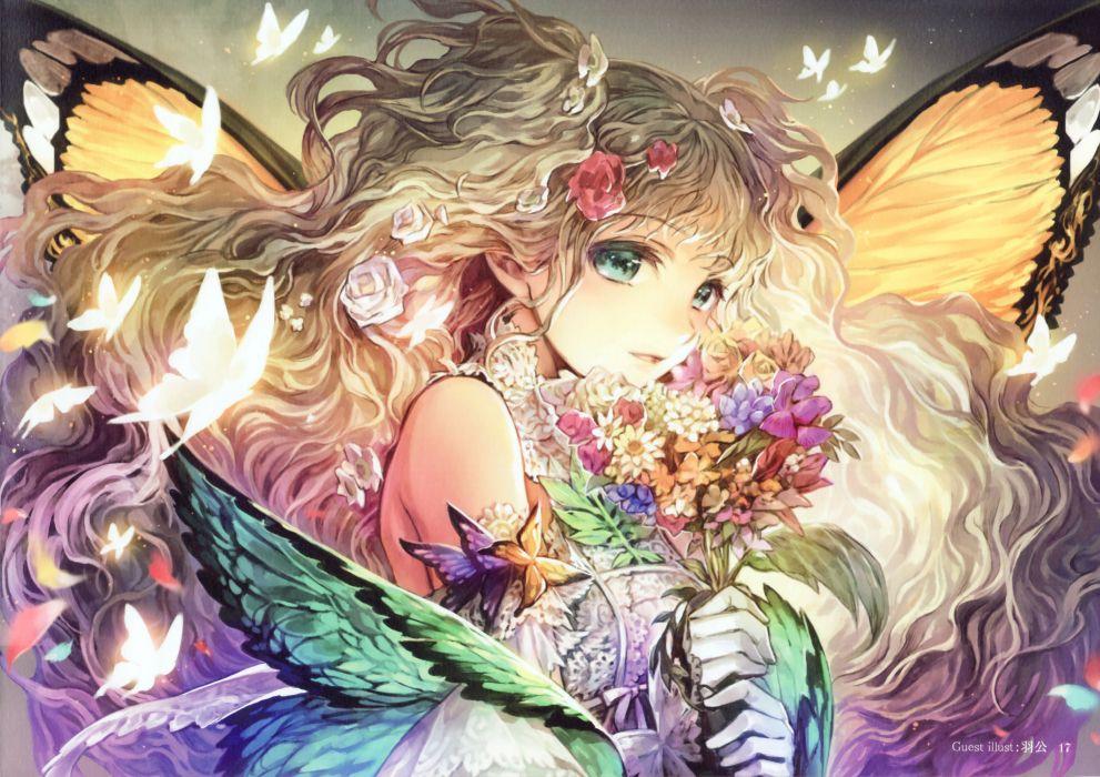 Anime Girl Flower Beautiful Butterfly Long Hair Cute Wings Wallpaper