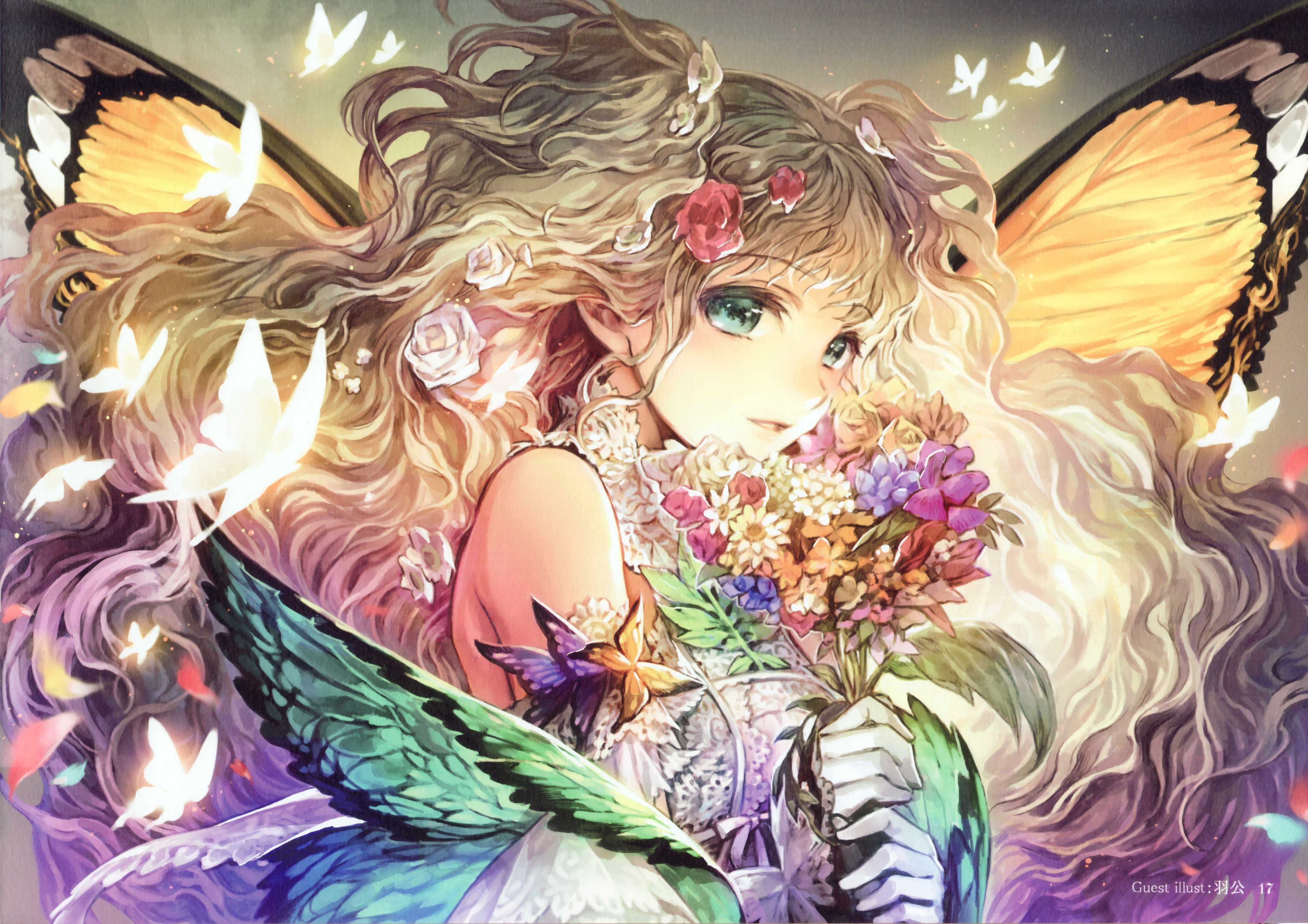 Download Wallpaper 3840x2400 Anime, Boy, Girl, Flowers, Wreath ...