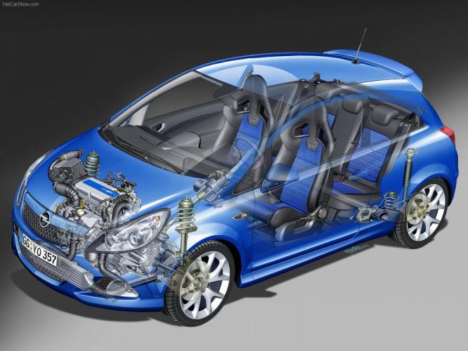 Opel Corsa OPC cars blue 2008 cutaway wallpaper