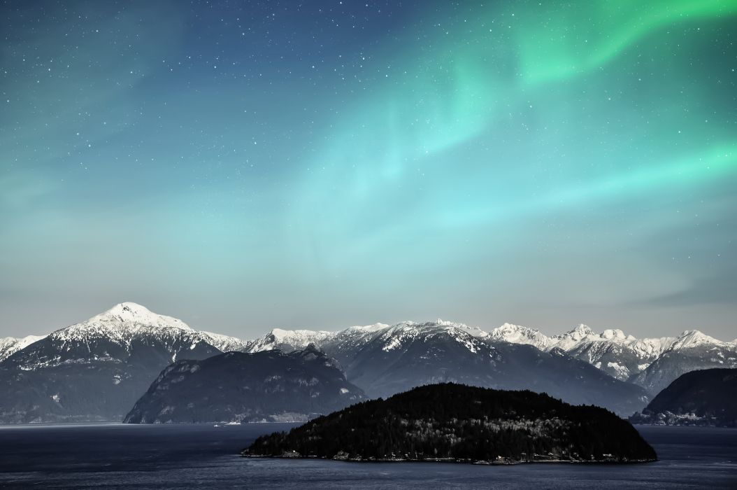 Aurora Borealis mountains snow night sky northern space lake wallpaper