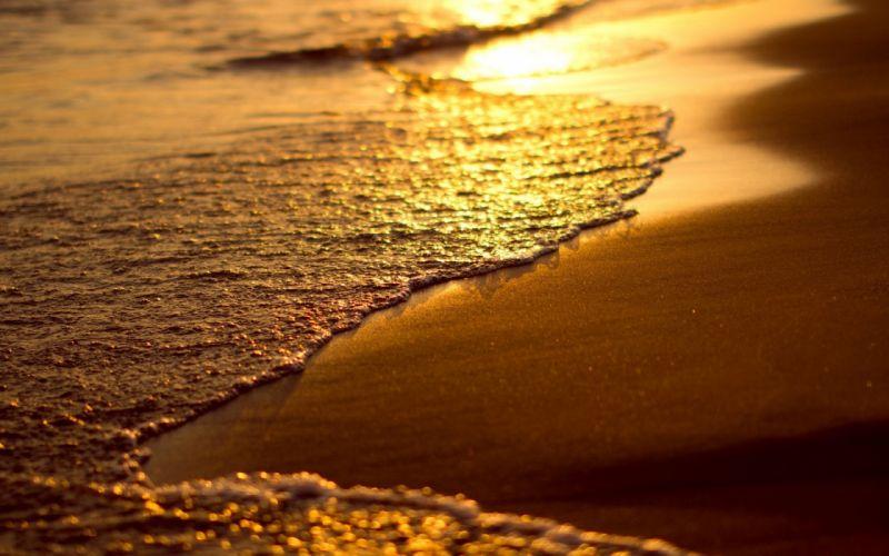 Beach sand sunset sunrise reflection sea ocean wallpaper