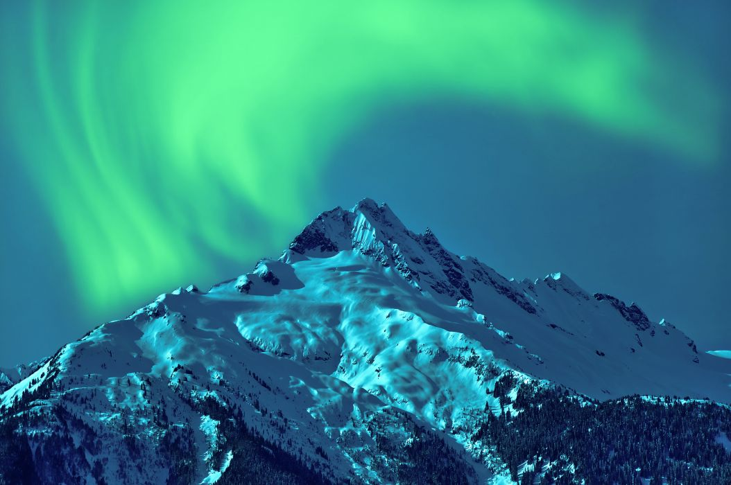 Aurora Borealis mountains snow night sky northern space wallpaper