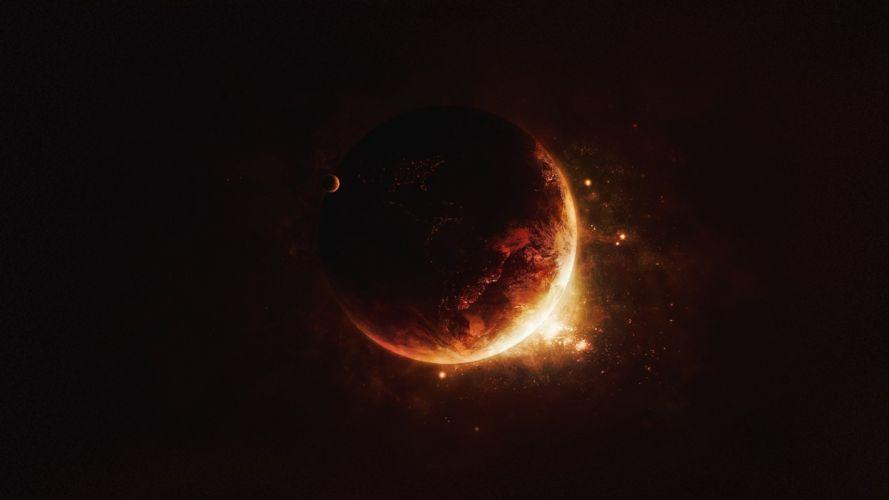 Earth Planet space stars artwork wallpaper