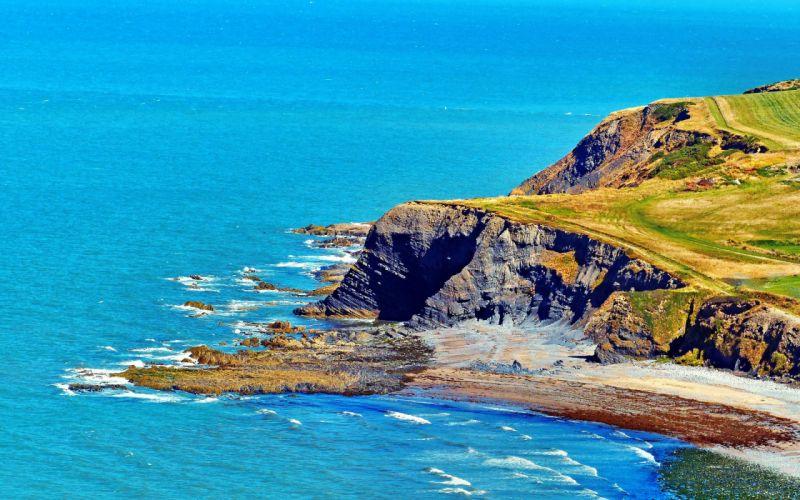 Horizon Cliff Scenic Colorful Sunny sea ocean wallpaper