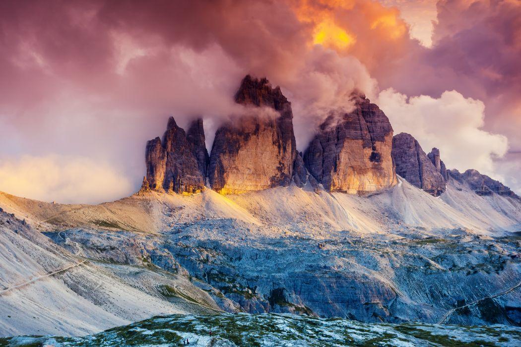 Glow Fog Austria Dolomites Three Peaks South Tyrol Tre Cime Di Lavaredo wallpaper